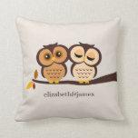 Owls in Autumn Custom Throw Pillow