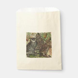 Owls in batik style Ecru Favor Bag