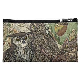 Owls in batik style Medium Cosmetic Bag