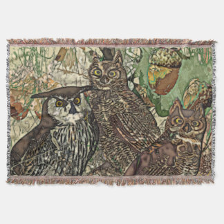 Owls in batik style Throw Blanket