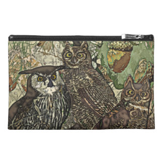 Owls in batik style Travel Accessory Bag