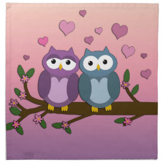 Owls in love napkin