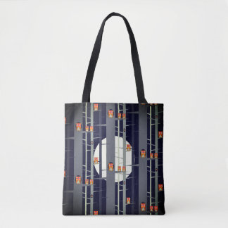 Owls in Trees at Night in Blue by Aleta Tote Bag