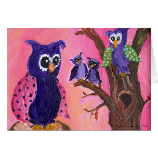 Owls in Trees Card