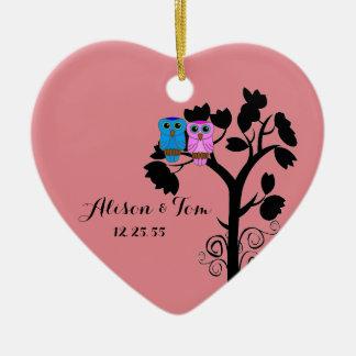 Owls - Love Birds - Wedding Favors Ceramic Heart Decoration