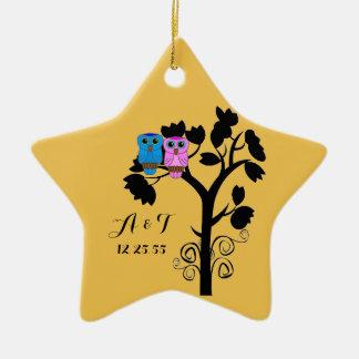 Owls - Love Birds - Wedding Favors Ceramic Star Decoration