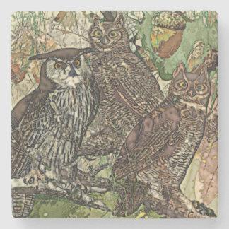 Owls  Marble Stone Coaster