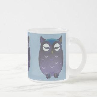 Owls Meditating Frosted Glass Coffee Mug