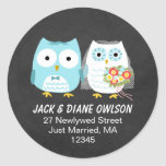 Owls Newlywed Couple Return Address Round Sticker