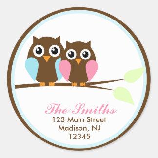 Owls on a Branch Address Labels Round Sticker