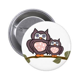 Owls On Branch 6 Cm Round Badge