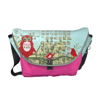 owls on branch rickshaw bag pink blue commuter bags