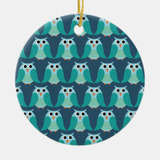 Owls, Owls, Owls! - Blue Round Ceramic Decoration