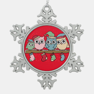 owls pewter snowflake decoration