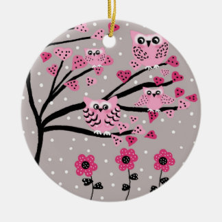 owls round ceramic decoration