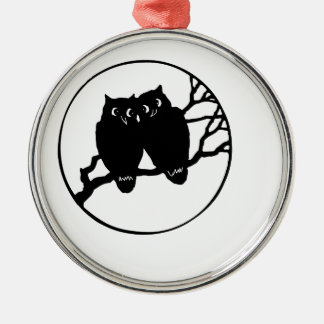 OWLS Silver-Colored ROUND DECORATION