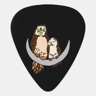Owls Sitting On The Moon Guitar Pick