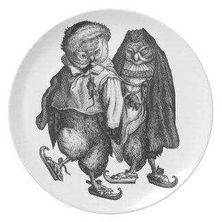 owls skating vintage party plates