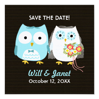 Owls Wedding Bride and Groom - Save the Date Card