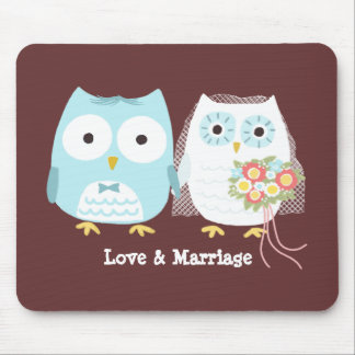 Owls Wedding Bride and Groom with Custom Text Mouse Pad