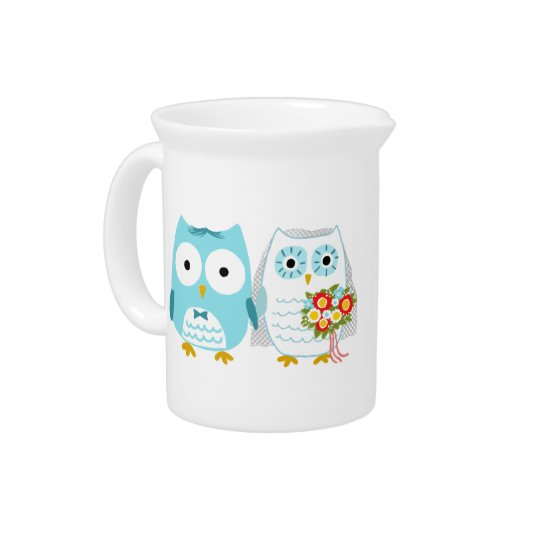 Owls Wedding Bride and Groom with Custom Text Pitcher