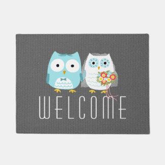 Owls Wedding Couple - Custom Text Doormat