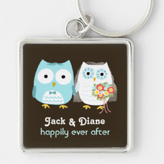 Owls Wedding Couple - Cute Bride and Groom Key Ring