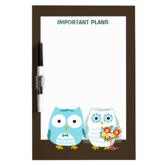 Owls Wedding - Cute Bride and Groom Dry Erase Board