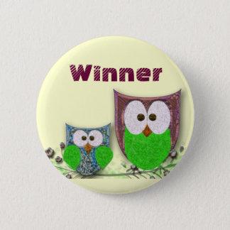 Owls winner design 6 cm round badge