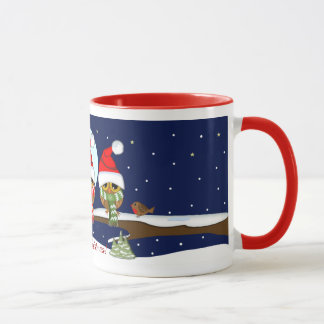 Owls with Santa hats and Xmas scarfs & custom text Mug