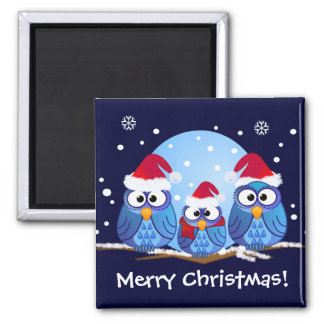 Owls with Santa hats Square Magnet