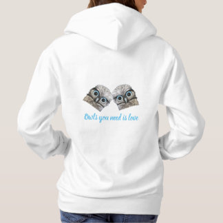Owls You Need is Love Silver Burrowing Owl Art Hoodie