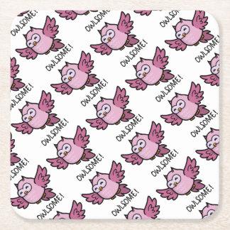 Owlsome Square Paper Coaster