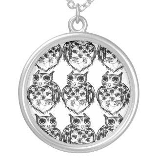 Owlsowlsowlsowowolssss Necklace! Round Pendant Necklace