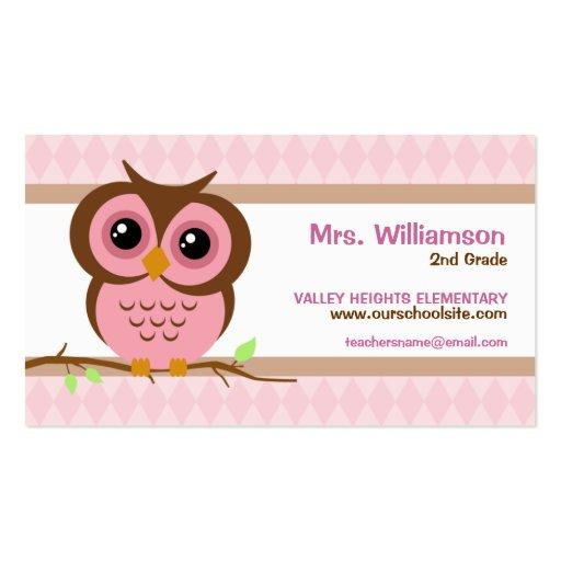 Owly Pink Teacher Business Cards