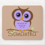 Owly Purple Personalised Mousepad
