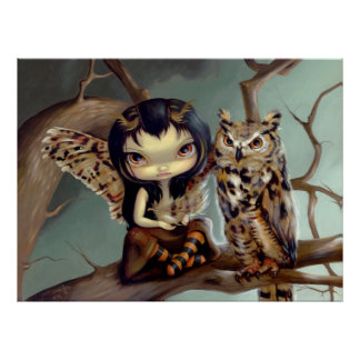 Owlyn ART PRINT owl fairy fantasy
