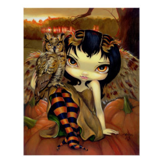 Owlyn in Autumn ART PRINT owl fairy halloween