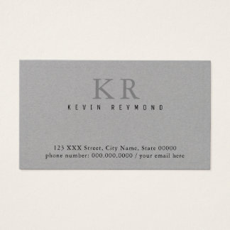 own simple & minimalist basic gray presentation business card