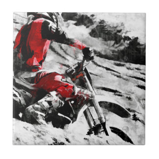 Owning The Mountain  -  Motocross Dirt-Bike Racer Ceramic Tile