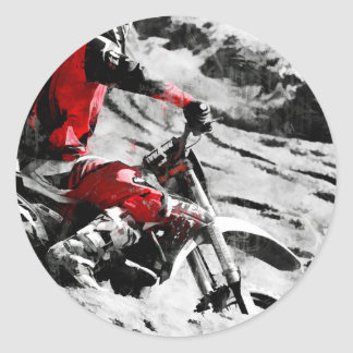 Owning The Mountain  -  Motocross Dirt-Bike Racer Classic Round Sticker