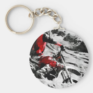 Owning The Mountain  -  Motocross Dirt-Bike Racer Key Ring