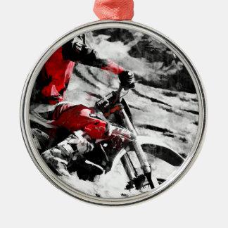 Owning The Mountain  -  Motocross Dirt-Bike Racer Metal Ornament