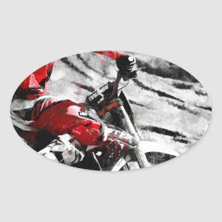 Owning The Mountain  -  Motocross Dirt-Bike Racer Oval Sticker