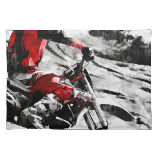 Owning The Mountain  -  Motocross Dirt-Bike Racer Placemat