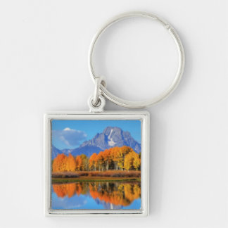 Oxbow Bend Sunrise Silver-Colored Square Key Ring