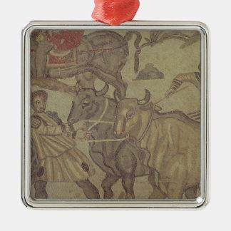 Oxen transporting water, Roman mosaic Metal Ornament