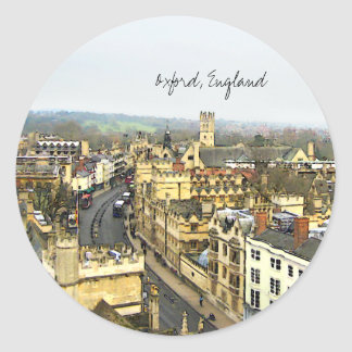Oxford, England, High St View Classic Round Sticker