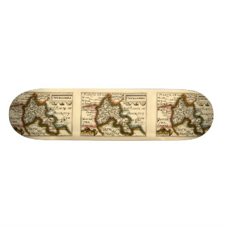Oxfordshire County Map, England Skate Board Deck