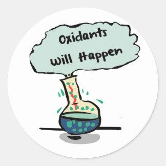 Oxidants Happen - Chemistry Humor Round Sticker